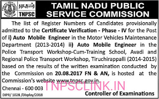 TNPSC Certification Verification