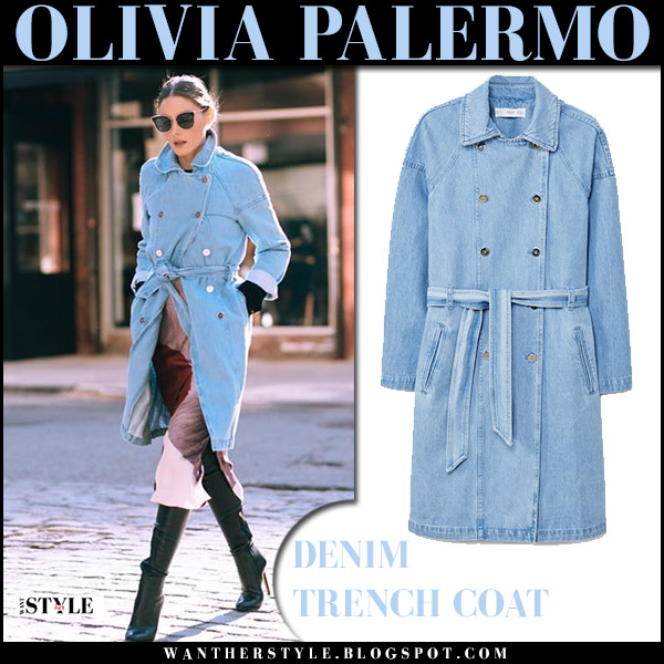 Olivia Palermo in pale blue denim coat mango and black leather boots jimmy choo toni spring street style celebrity