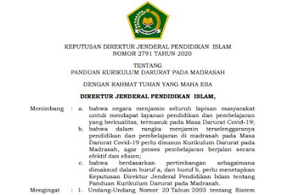 Panduan Kurikulum Darurat pada Madrasah
