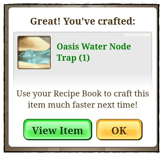 gambar Oasis Water Node Trap yang telah berjaya dihasilkan