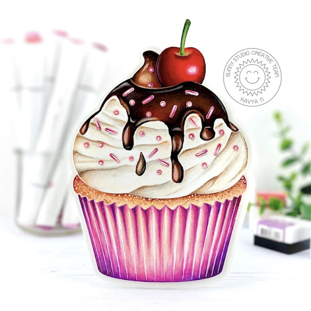 Sunny Studio Stamps: Cupcake Shaped Die Candy Shoppe Inside Greetings Birthday Card by Kavya