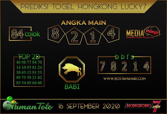Prediksi Togel HONGKONG LUCKY 7 TAMAN TOTO 16 SEPTEMBER 2020