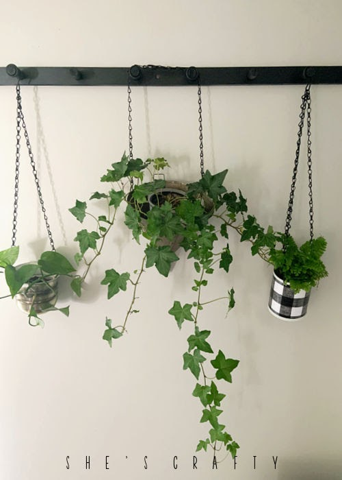 how to hang plants with a peg rack.