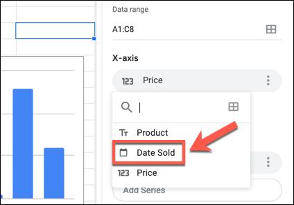 انقر فوق تسمية المحور X أو Y في لوحة Google Sheets Chart Editor ، ثم حدد عمودًا بديلًا من القائمة المنسدلة.