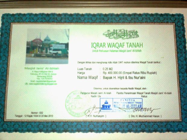 Contoh Surat Pernyataan Wakaf Masjid Musik Nyah Year Of