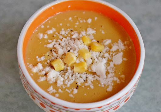Summer Corn Soup from Healthyis #AbramsDinnerParty