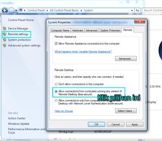 Aktifkan Remote Desktop