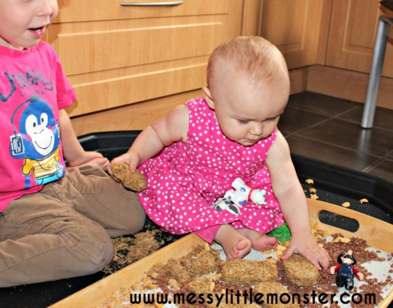 activities for babies - edible farm sensory bin