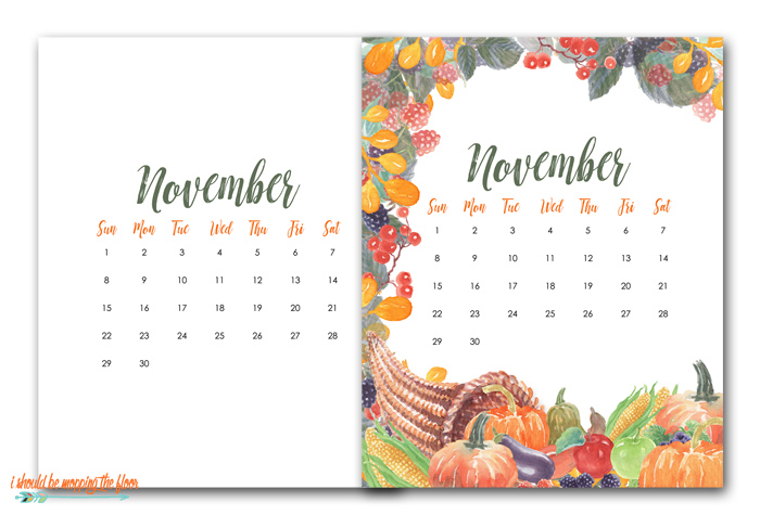 Free Calendar Printables for November