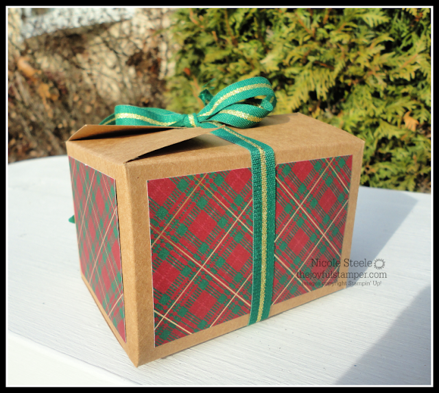 Stampin' Up! Shipping Box gift card holder using Wrapped In Plaid Designer Series Paper, Perfectly Plaid, and Pine Tree Punch