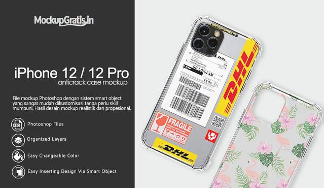 Mockup Softcase Anti Crack iPhone 12 / 12 Pro