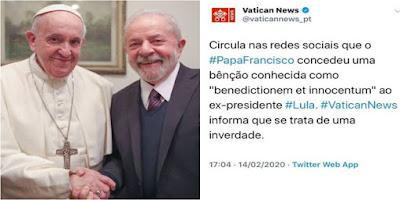 imagem do Papa Francisco com ex-presidente Lula e tweet do Vatican News