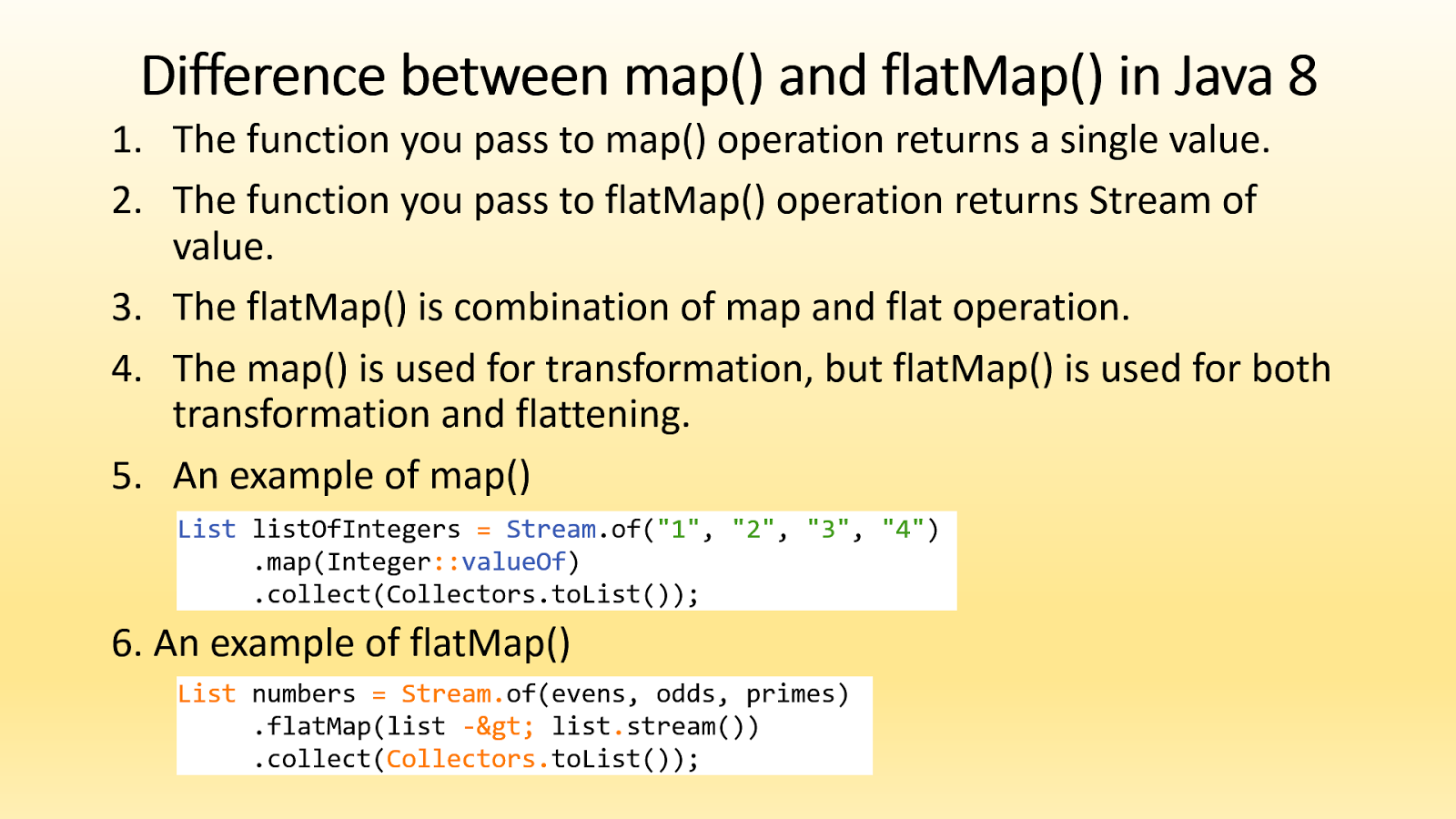Difference between map and flatmap in java 8 stream difference between map vs flatmap in java 8 baditri Images
