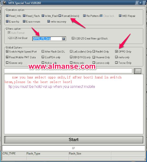 Explanation of Oppo F5 cph1725, Delete Oppo Code using MRT