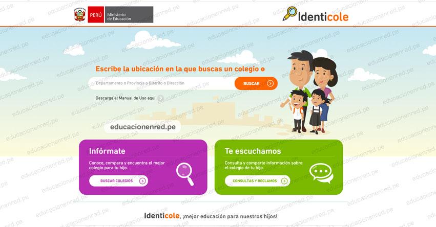 MINEDU: Encuentra un colegio cerca a tu casa con el aplicativo IDENTICOLE del Ministerio de Educación - www.identicole.minedu.gob.pe