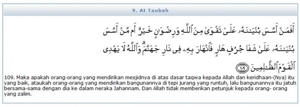 Surat Attaubah Ayat 109 Serta Tafsir Depag Ri Hikmah 313