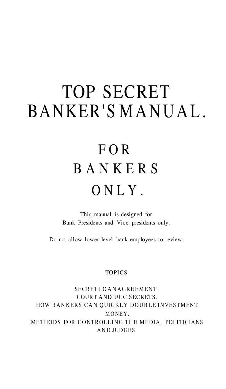 TOP SECRET BANKER'S MANUAL FOR BANK PRESIDENTS AND VICE PRESIDENTS ONLY. Tomschauf-topsecretbankersmanual2003_ocr_v-1-page-001