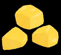 じゃがいもの切り方のイラスト(黄色・乱切り)