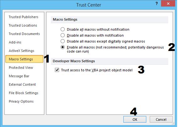 mengaktifkan macro setting