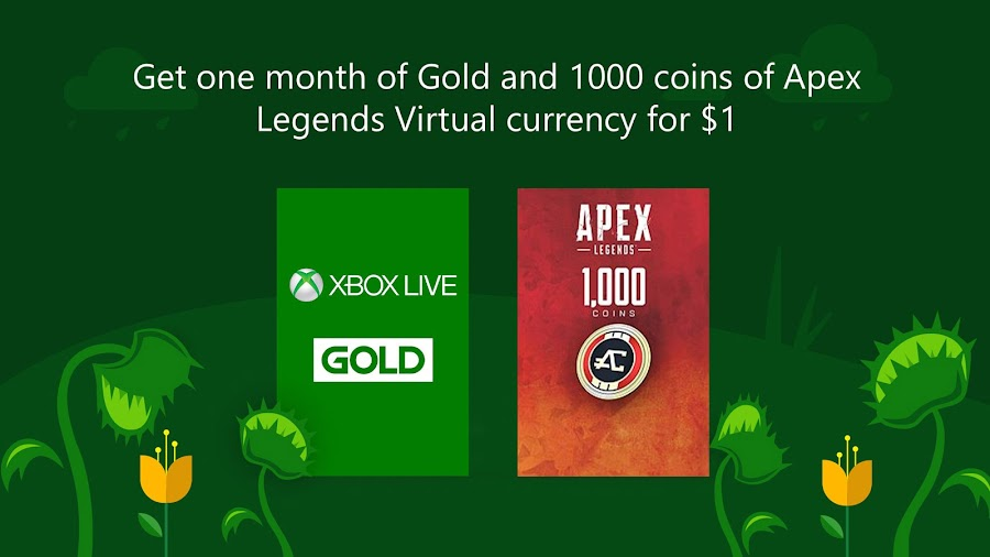 microsoft spring sale xbox live gold apex legends coins