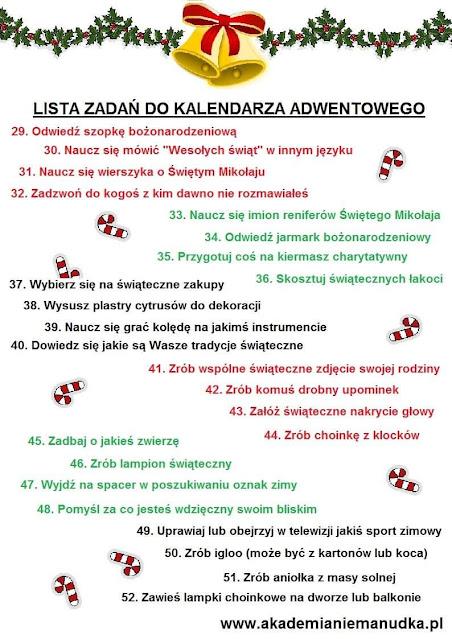 Lista zadań do kalendarza adwentowego