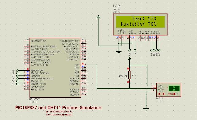 dht11 proteus simulation mikroc code
