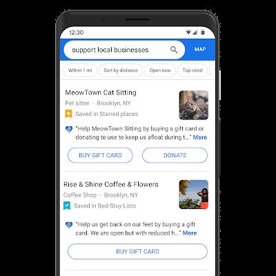 Eine Google Maps Suche auf einem Smartphone