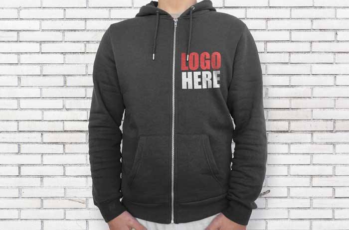 Black Hoodie Right Side With Zipper Mockup