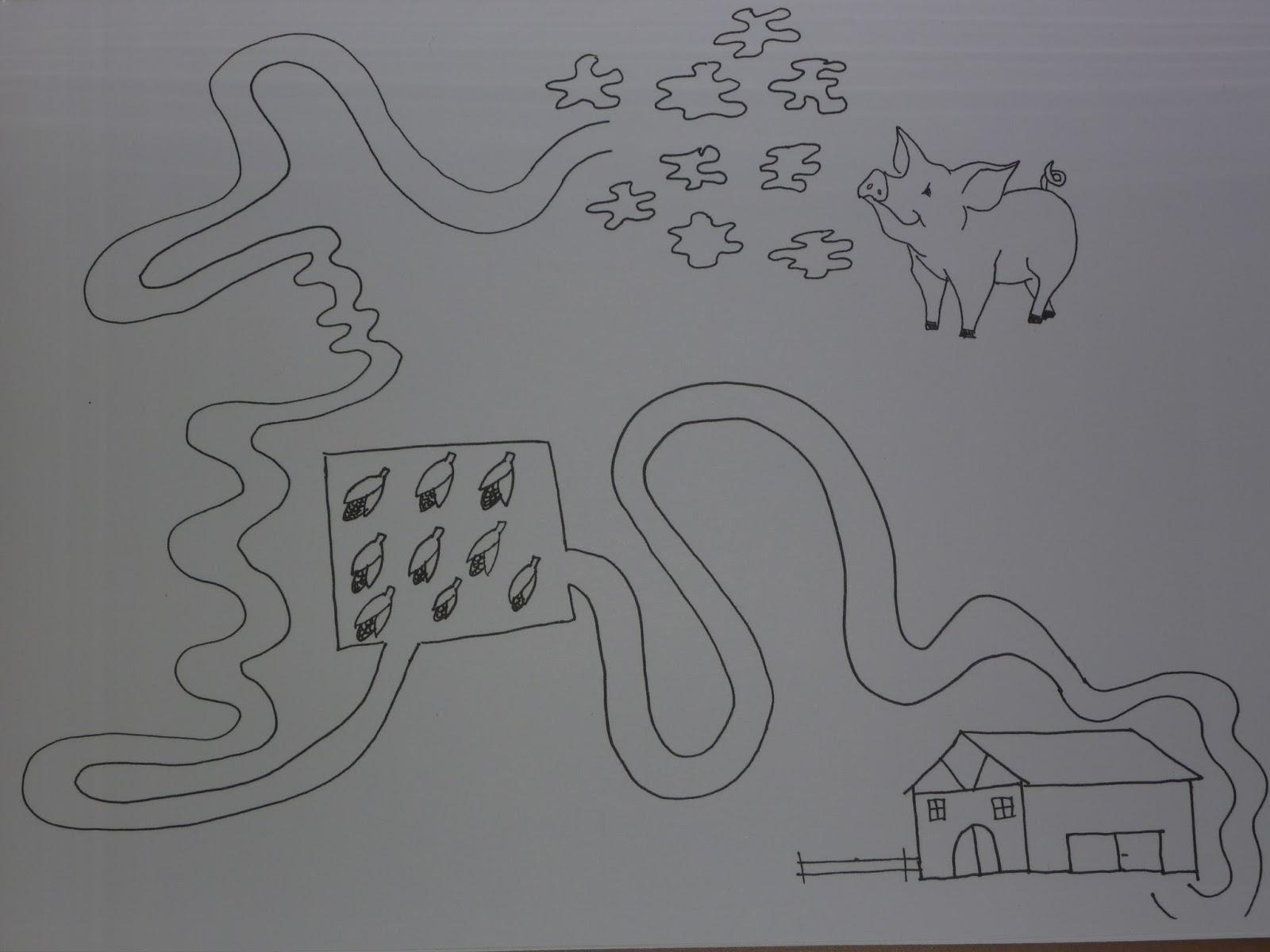 Märlimuus: Das Schwein geht heim - Graphomotorik Arbeitsblatt