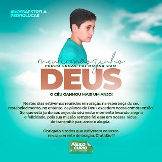 Prefeitura de Turilandia decreta luto Oficial pelo falecimento do Jovem Pedro Lucas, irmão do Prefeito Paulo curió.