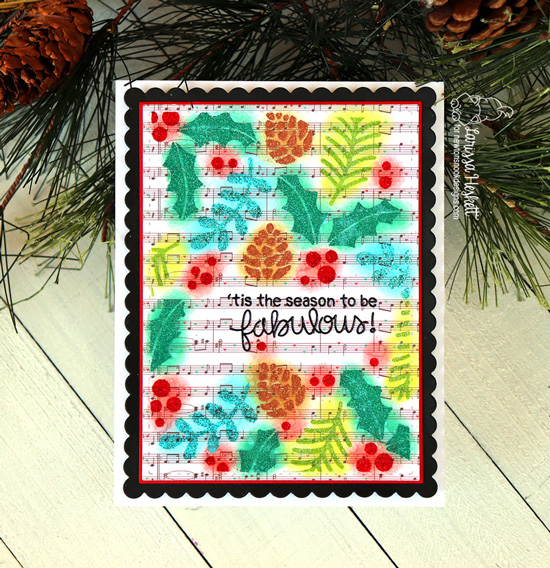 Newton's Nook Designs & WOW Embossing Powders Inspiration Week - Holiday card by Larissa Heskett | Holiday Foilage Stencil and Bokeh Stencil Set by Newton's Nook Designs with embossing powder by WOW! #newtonsnook #wowembossing