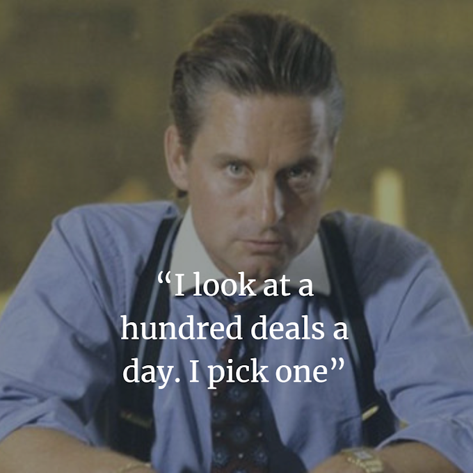 Gekko Inspirational  Images Quotes from Wall Street Movie Michael Douglas