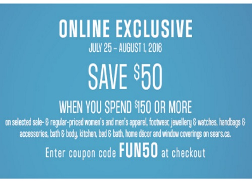 Sears Save $50 Off $150 Online Exclusive Promo Code