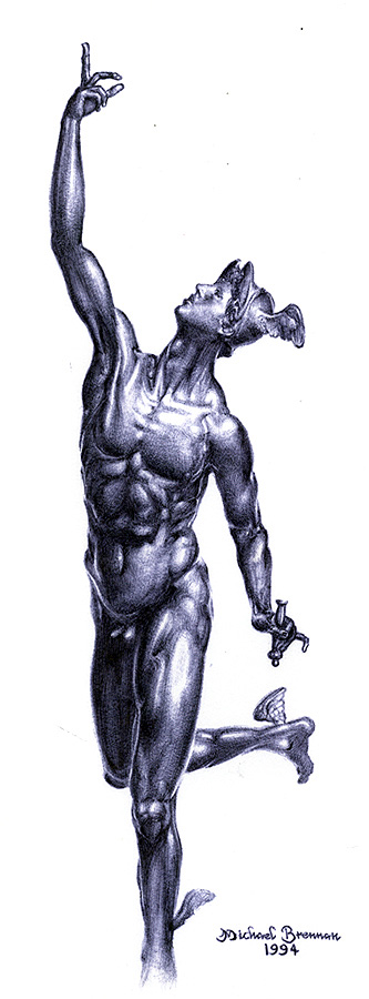 achilles drawn in blue ballpoint pen