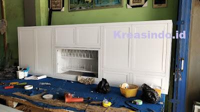 Kitchen Set ACP Aluminium pemasangan di Rumah Bu Mita di Perumahan Aruba Depok Lama