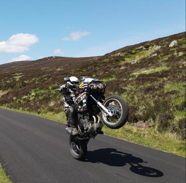 Evan on his Mercenary Sharktooth Supermoto TDM 850 Matte Black Survival Rat Bike - Image by Ronan Hickey