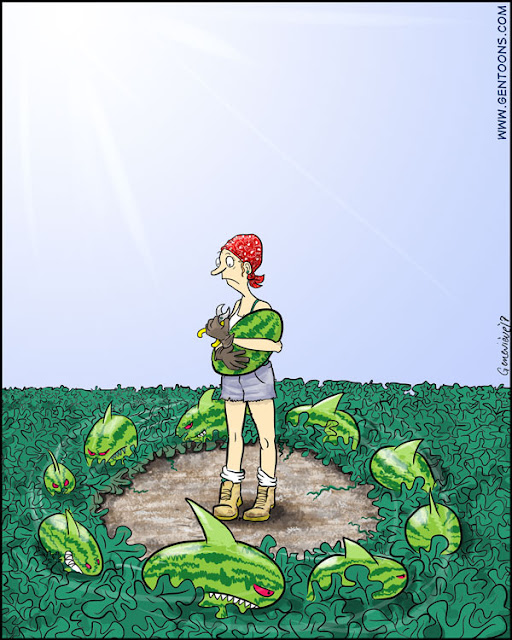 hot summer day out in the fields. a gardener in bluejean cutoffs and a bandannam wearing gloves and holding a clipper, holds a watermelon in her arms, and she looks frightened.  circling around her feet, rustling through the greenery and vines is a school of watermelons with sharklike fins and teeth, and angry red eyes
