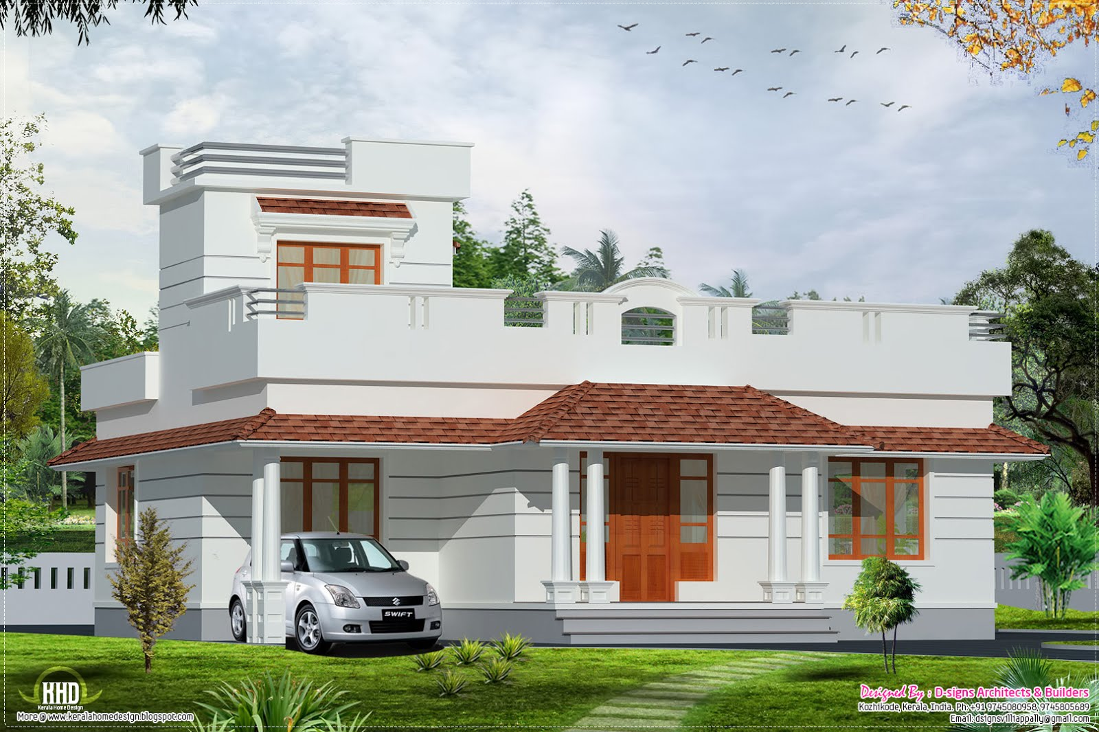 January 2013 kerala home design and floor plans for Kerala style 2 bedroom house plans