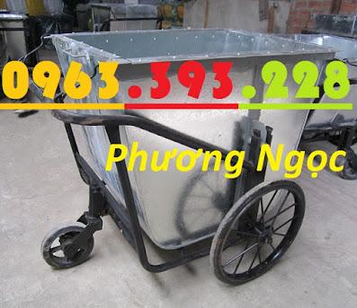 Xe gom rác 500 Lít bằng tôn, xe rác tôn 3 bánh, thùng rác tôn 500L, xe thu rác XRT500L1