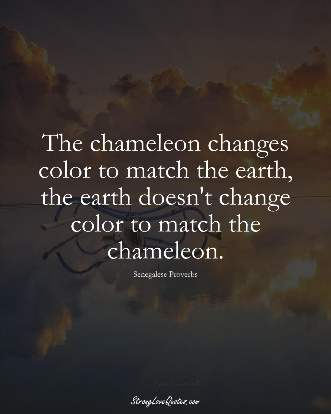 The chameleon changes color to match the earth, the earth doesn't change color to match the chameleon. (Senegalese Sayings);  #AfricanSayings