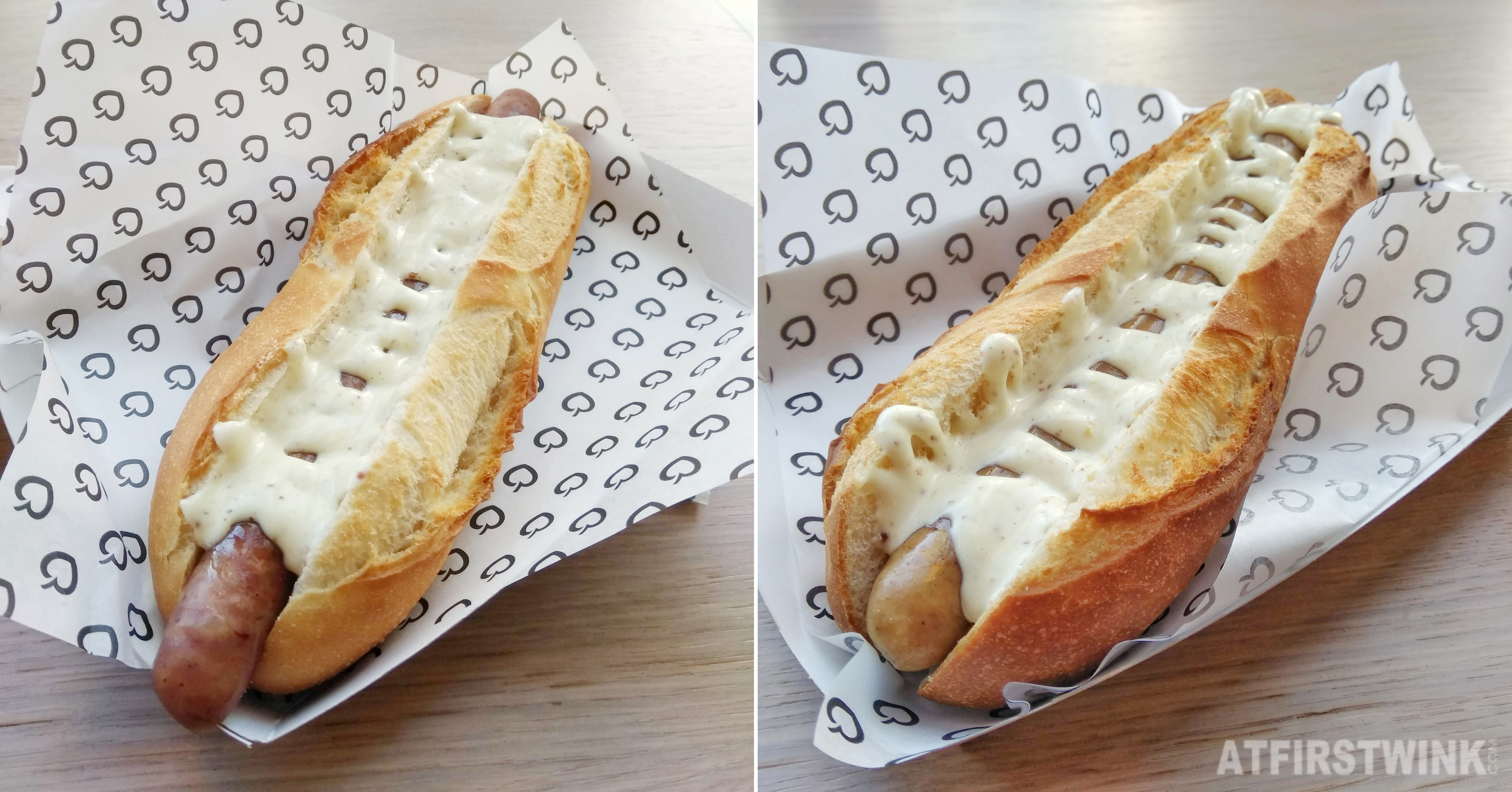 La Place hotdog chicken hotdog creamy mustard sauce