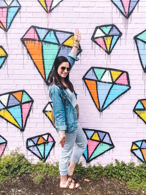 style on a budget, target find, spring style, graffiti wall, what to wear for spring, how to style a denim jacket, north carolina blogger, mom style