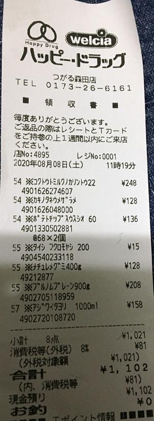 ハッピー・ドラッグ つがる森田店 2020/8/8 のレシート