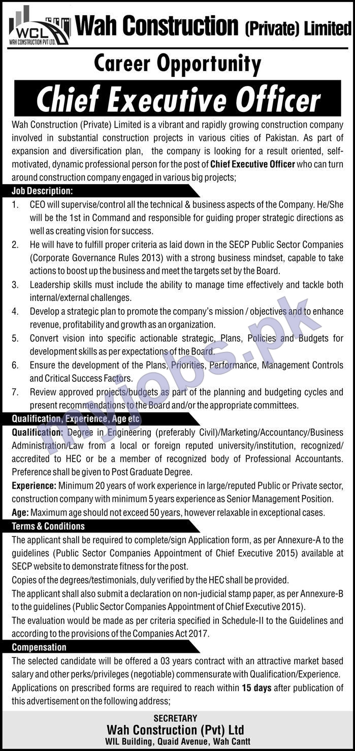 Wah Construction (Private) Limited Career Opportunity│Chief Executive Officer│Apply Now