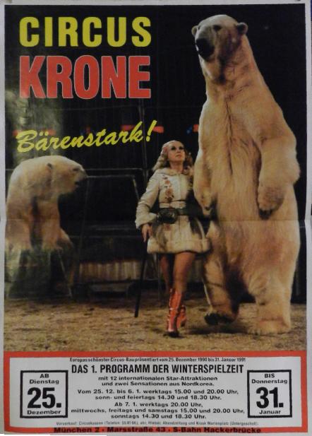 Ursula Bottcher et ses ours blanc a Munich au Cirque Kronebau, Bärenstark