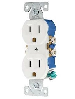 French Country Laundry One Room Challenge Week 3 progress with electrical wall plugs updated with white plugs