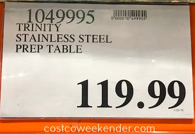 Deal for the Trinity Stainless Steel Prep Table at Costco