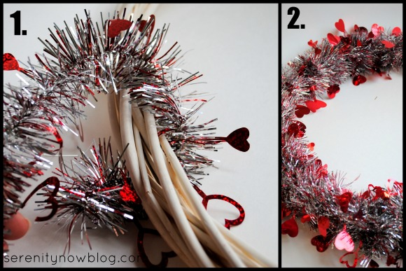 DIY Valentine's Day Tinsel Wreath Tutorial, from Serenity Now