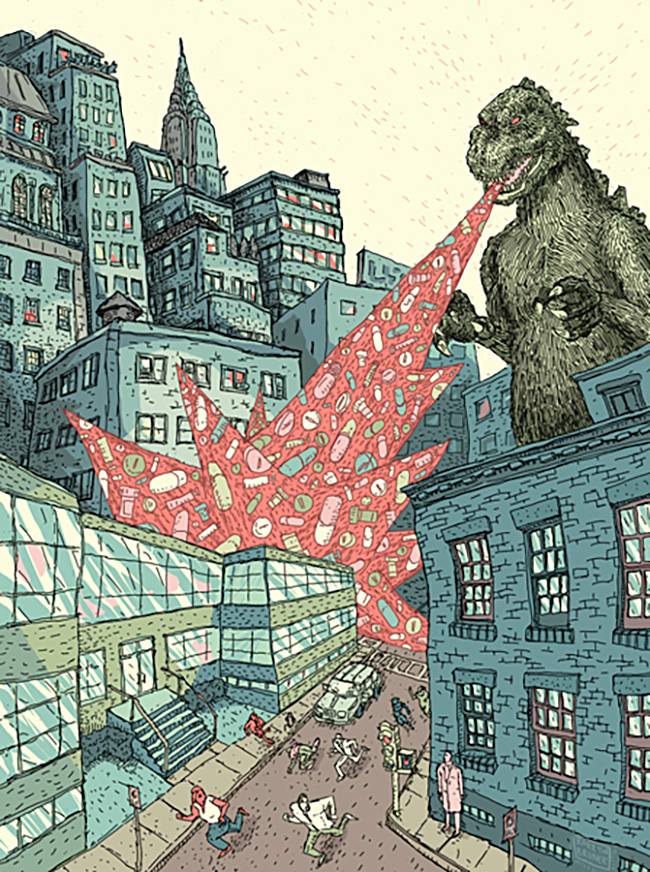 Barry Bruner (US) - Godzilla illustration
