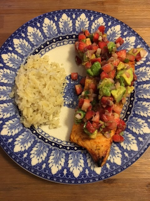 salmon with avocado and strawberry salsa